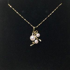 Jewelry - 18K Gold Bubble AKoya Pearl Diamond Pendant